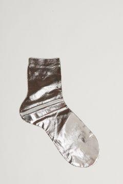 calza argento effetto metallizzato