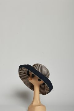 Large round hat with blue and beige stripes with hem