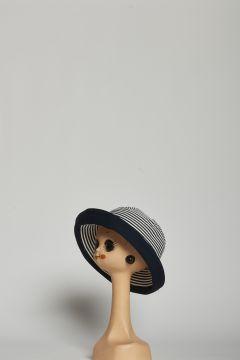 Round blue striped hat with hem