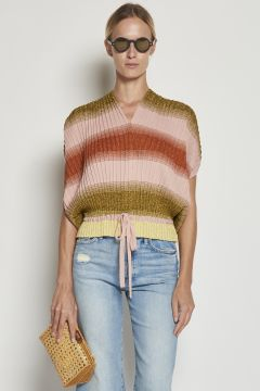 Striped lurex top with elastic waistband