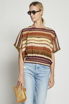 Colored striped top in lurex