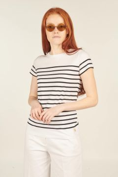 White and blue Etel striped t-shirt