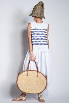 Sleeveless white cotton dress with blue stripes