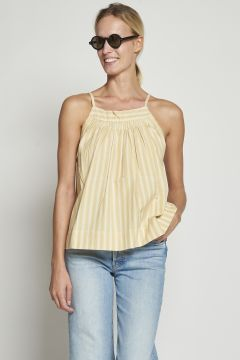White and yellow striped cotton top
