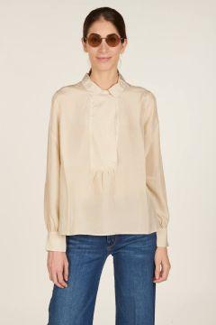 White silk polo shirt