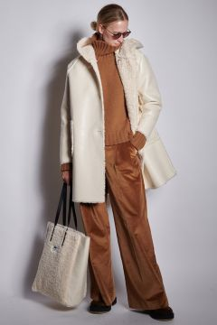 Reversible white coat with hood