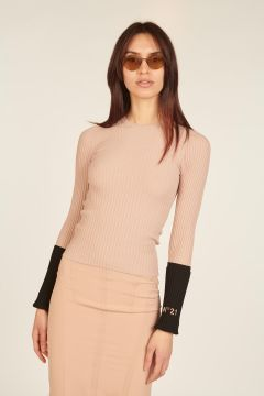 Powder pink ribbed crewneck sweater