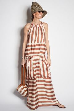 Long ivory and brown striped dress