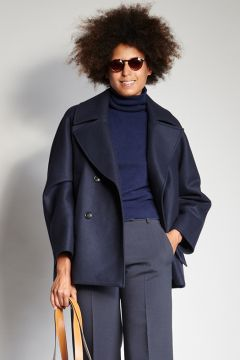 Double-breasted navy coat