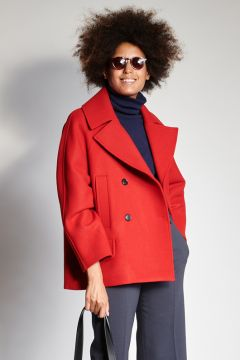 Double-breasted red coat