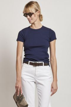 blue cotton t-shirt with short sleeves