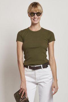 t-shirt verde in cotone con maniche corte
