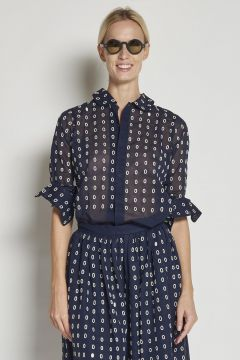 Blue cotton Shirt With embroidered ovals