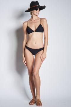 Bikini triangolo nero bordo oro