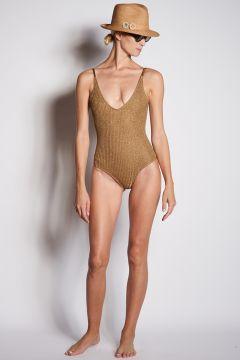 Gold lurex one-piece swimsuit