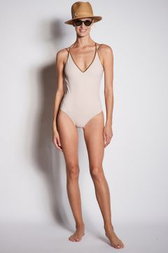 One-piece swimsuit with gold edges
