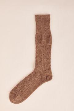 Alpaca brown wool cable socks