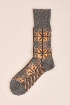 Blue square check Socks