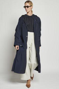 Blue raincoat with elastics