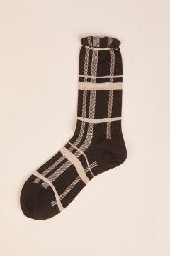 Black check socks