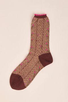 Herringbone burgundy socks