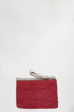 Red raffia clutch bag with zip with leather strap