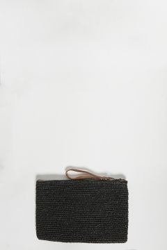 Black raffia clutch bag with zip with leather strap