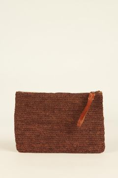 Brown Ampy raffia woven pouch bag