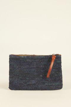 Navy Blue Ampy raffia woven pouch bag