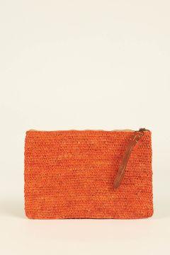 Orange Ampy raffia woven pouch bag