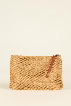 Tea Ampy raffia woven pouch bag