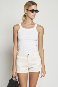 White ribbed cotton tank top