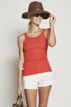 Red ribbed cotton tank top