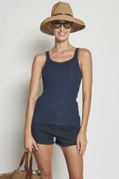 Ribbed dark blue cotton tank top