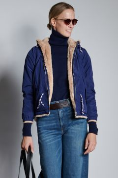 Reversible jacket in nylon or eco-fur