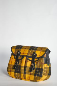 Yellow tartan shoulder bag with straps closure