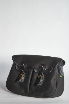 Black shoulder bag with straps closure