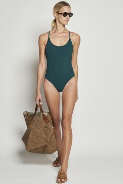 Green swimwear with braiding on the back