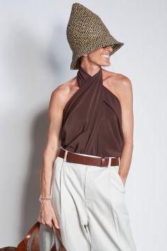 milaura shirt Top seta incrociato testa moro | Milaura