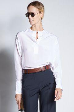 White long-sleeved silk shirt