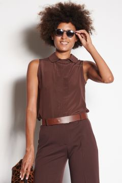 Brown silk top