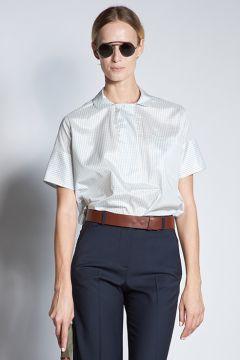 Blue check silk polo shirt