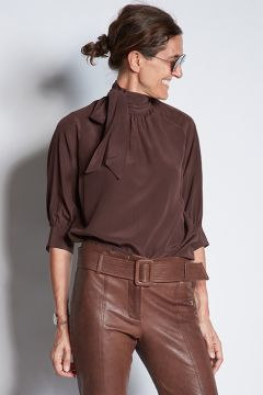 Brown silk shirt with scarf