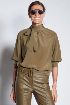 Green silk shirt with scarf
