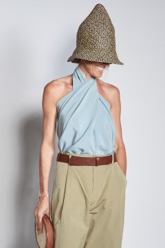 Blue crossed silk top