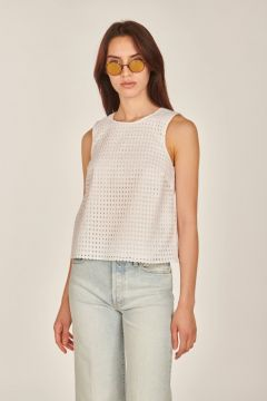 White top with broderie anglaise