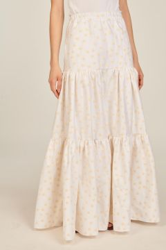 White skirt with embroidered flowers