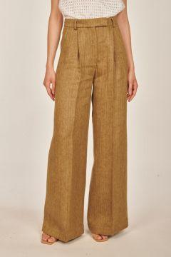 Pantaloni sartoriali marroni in lino spinato