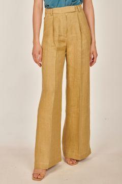 Pantaloni sartoriali beige in lino spinato