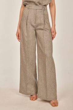 Blue and beige tailored trousers in herringbone linen